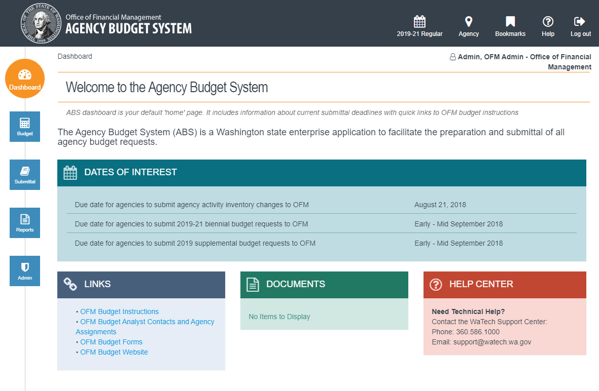 Screenshot of new budget system
