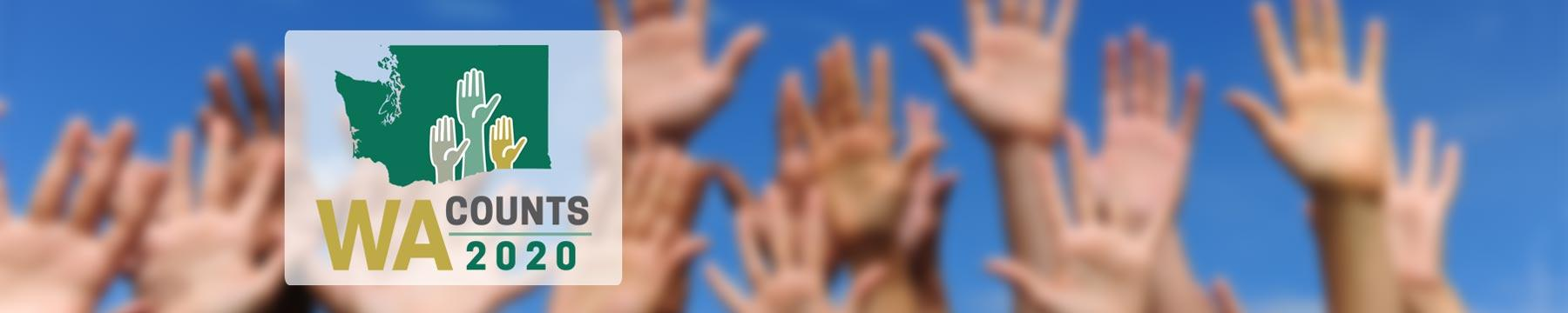 "Logo reading ""WA Counts 2020"" over an image of hands stretched high in the air"
